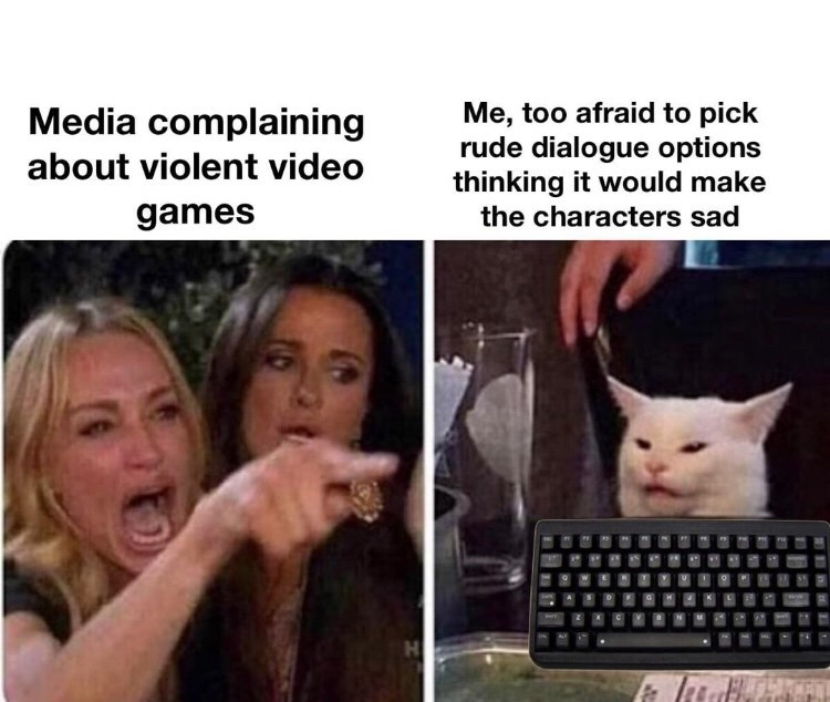 Facial expression - Me, too afraid to pick rude dialogue options thinking it would make Media complaining about violent video games the characters sad HO