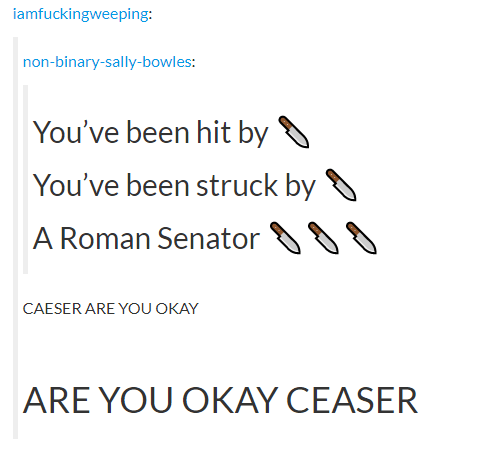 Text - iamfuckingweeping: non-binary-sally-bowles: You've been hit by O You've been struck by 8 A Roman Senator CAESER ARE YOU OKAY ARE YOU OKAY CEASER