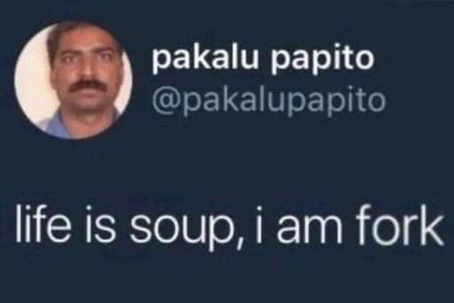 Text - pakalu papito @pakalupapito life is soup, i am fork