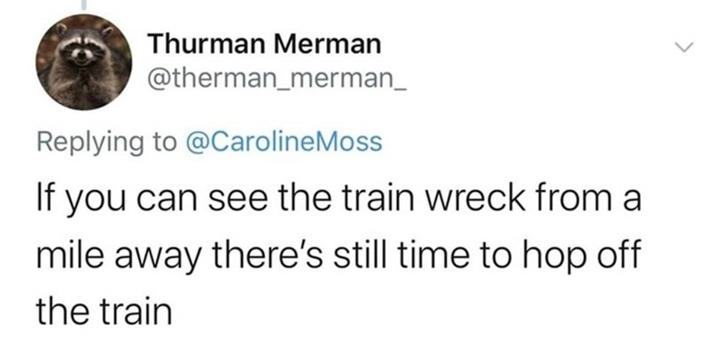 Text - Thurman Merman @therman_merman_ Replying to @CarolineMoss If you can see the train wreck from a mile away there's still time to hop off the train