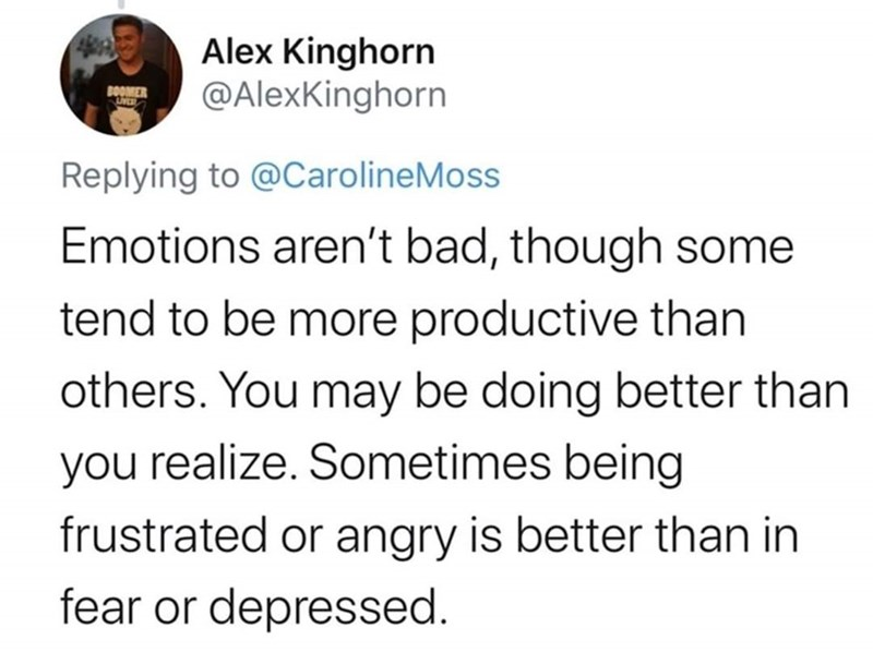 Text - Alex Kinghorn @AlexKinghorn BOOMER Replying to @CarolineMoss Emotions aren't bad, though some tend to be more productive than others. You may be doing better than you realize. Sometimes being frustrated or angry is better than in fear or depressed.