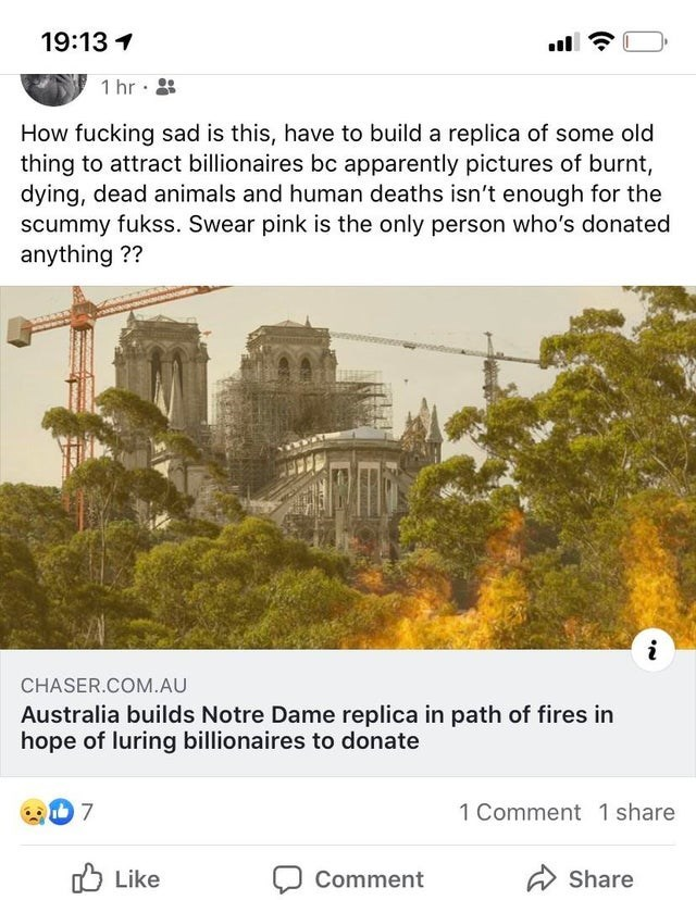 Text - 19:13 1 1 hr · How fucking sad is this, have to build a replica of some old thing to attract billionaires bc apparently pictures of burnt, dying, dead animals and human deaths isn't enough for the scummy fukss. Swear pink is the only person who's donated anything ?? CHASER.COM.AU Australia builds Notre Dame replica in path of fires in hope of luring billionaires to donate 1 Comment 1 share O Like A Share Comment