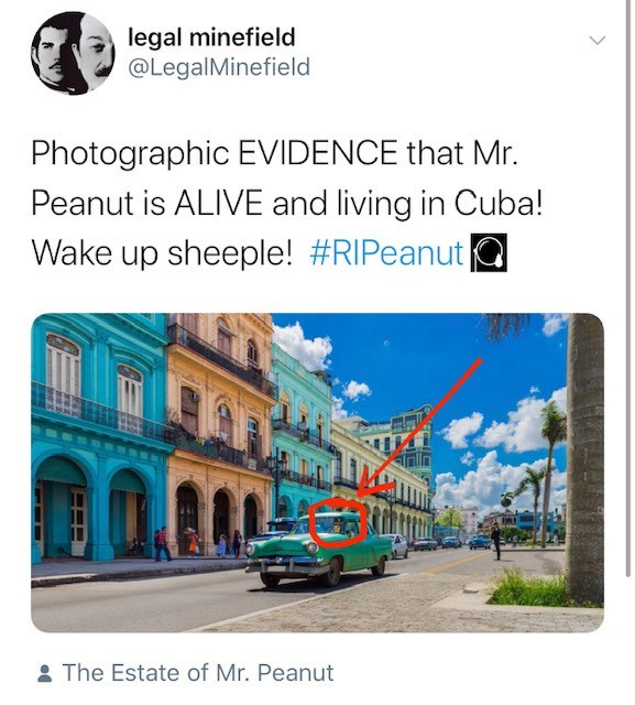 Transport - legal minefield @LegalMinefield Photographic EVIDENCE that Mr. Peanut is ALIVE and living in Cuba! Wake up sheeple! #RIPeanut IRY : The Estate of Mr. Peanut