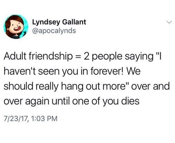 "Text - Lyndsey Gallant @apocalynds Adult friendship = 2 people saying ""I haven't seen you in forever! We should really hang out more"" over and over again until one of you dies 7/23/17, 1:03 PM"