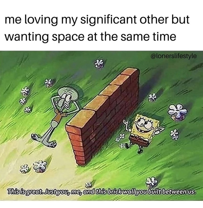 Cartoon - me loving my significant other but wanting space at the same time @lonerslifestyle This is great. Just you, me, and this brick wall you built between us.
