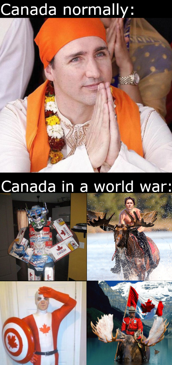 Orange - Canada normally: Canada in a world war: Baau er CANADIAN