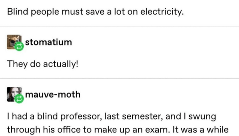 Text - Blind people must save a lot on electricity. stomatium They do actually! mauve-moth I had a blind professor, last semester, and I swung through his office to make up an exam. It was a while