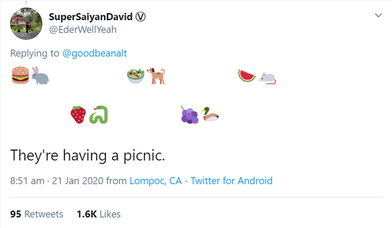Text - SuperSaiyanDavid O @EderWellYeah Replying to @goodbeanalt They're having a picnic. 8:51 am · 21 Jan 2020 from Lompoc, CA · Twitter for Android 1.6K Likes 95 Retweets