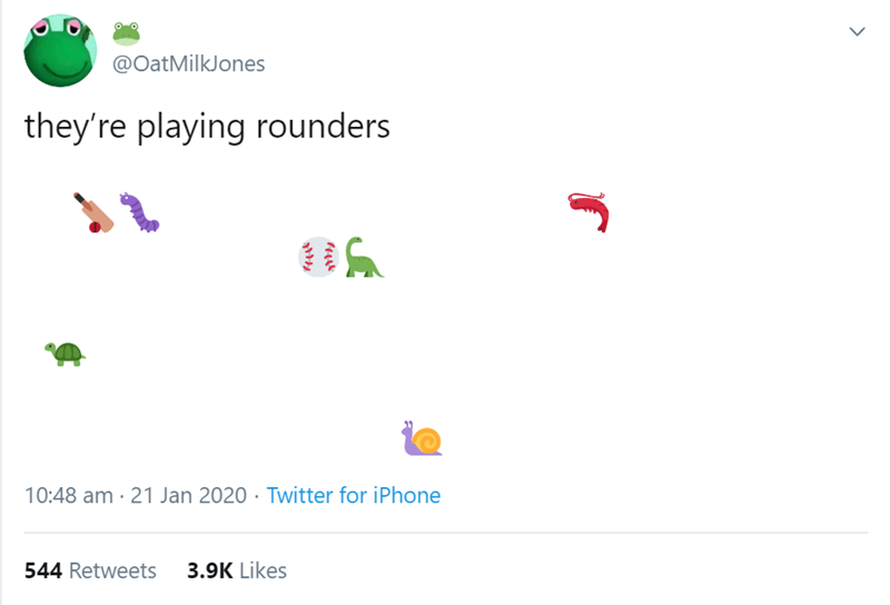 Text - @OatMilkJones they're playing rounders 10:48 am · 21 Jan 2020 · Twitter for iPhone 544 Retweets 3.9K Likes