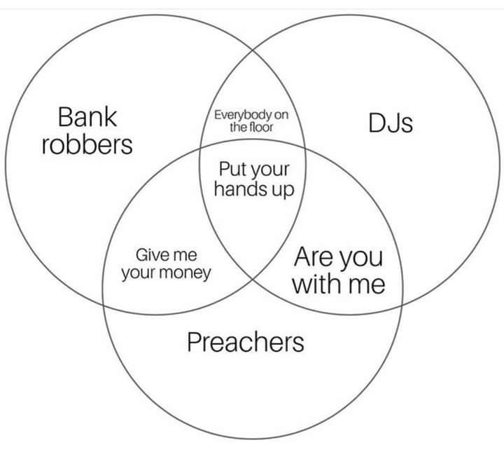 Text - Bank robbers Everybody on the floor DJs Put your hands up Are you with me Give me your money Preachers