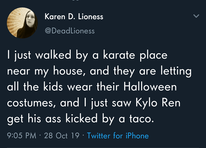 Text - Karen D. Lioness @DeadLioness I just walked by a karate place near my house, and they are letting all the kids wear their Halloween costumes, and I just saw Kylo Ren get his ass kicked by a taco. 9:05 PM · 28 Oct 19 · Twitter for iPhone