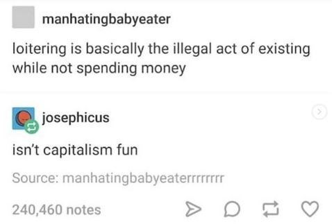 Text - manhatingbabyeater loitering is basically the illegal act of existing while not spending money josephicus isn't capitalism fun Source: manhatingbabyeaterrrrrr 240,460 notes