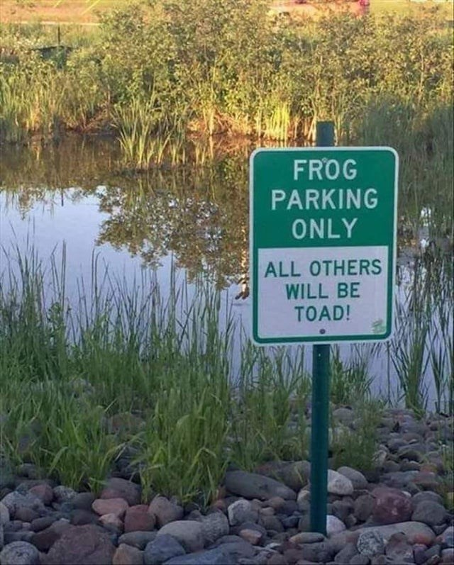Nature reserve - FROG PARKING ONLY ALL OTHERS WILL BE TOAD!