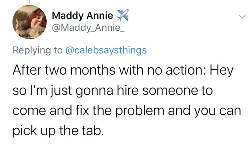 Text - Maddy Annie X @Maddy_Annie_ Replying to @calebsaysthings After two months with no action: Hey so l'm just gonna hire someone to come and fix the problem and you can pick up the tab.