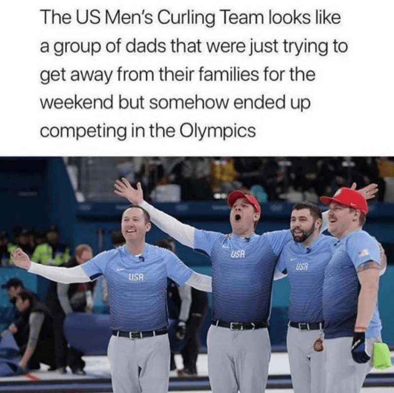 Product - The US Men's Curling Team looks like a group of dads that were just trying to get away from their families for the weekend but somehow ended up competing in the Olympics USR USA USA