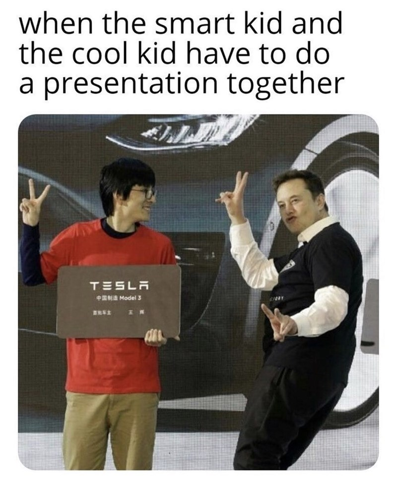 Poster - when the smart kid and the cool kid have to do a presentation together TESLA S Model 3 IORY