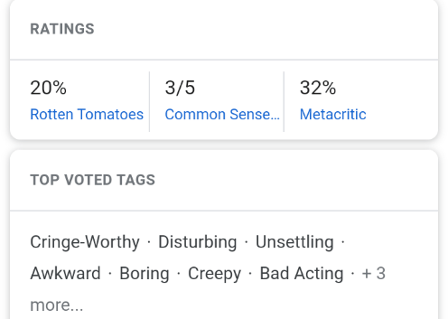 Text - RATINGS 20% 3/5 32% Metacritic Rotten Tomatoes Common Sense. TOP VOTED TAGS Cringe-Worthy · Disturbing · Unsettling · Awkward · Boring · Creepy · Bad Acting · + 3 more...