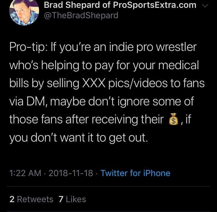 Text - Brad Shepard of ProSportsExtra.com @TheBradShepard Pro-tip: If you're an indie pro wrestler who's helping to pay for your medical bills by selling XXX pics/videos to fans via DM, maybe don't ignore some of those fans after receiving their s, if you don't want it to get out. 1:22 AM · 2018-11-18 · Twitter for iPhone 2 Retweets 7 Likes