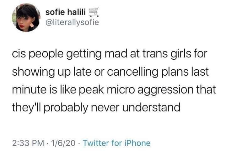 Text - sofie halili @literallysofie cis people getting mad at trans girls for showing up late or cancelling plans last minute is like peak micro aggression that they'll probably never understand 2:33 PM 1/6/20 Twitter for iPhone