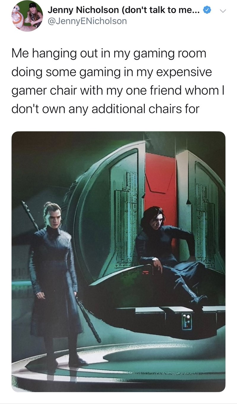 Fictional character - Jenny Nicholson (don't talk to me... @JennyENicholson Me hanging out in my gaming room doing some gaming in my expensive gamer chair with my one friend whom I don't own any additional chairs for