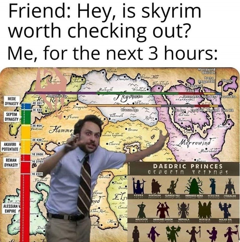 Text - Friend: Hey, is skyrim worth checking out? Me, for the next 3 hours: Morrowind Oblivion filitude Farro Pater HAd Bleikight Arena Daggerfall Redguard TESO C Deviutar Skyrim Methren Jehenn Markerih Merethic Errner Ro k Second EraSThirdEro FourthEra vverdenfell MEDE DYNASTY 4E 201 Dregentor BronzeAge Felleresth Early MA High MA Lote MA 3E 433 W on Age SEPTIM DYNASTY • fkeres Rfies Balmers Necrins 2E 854 Fentjnel Homme • Brame 2E 430ne Morrowind •Cherrel AKAVIRI POTENTATE 1E 2920 REMAN 1E 270