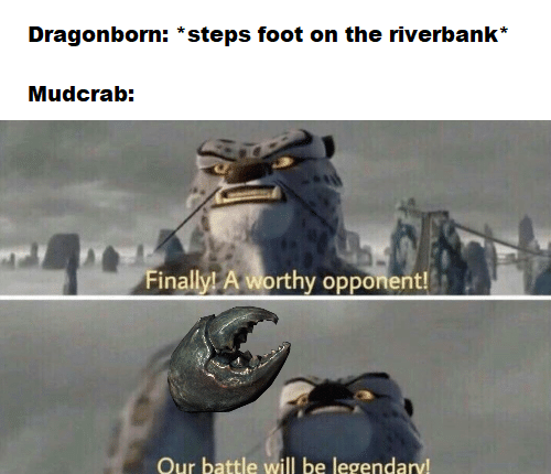 Text - Dragonborn: *steps foot on the riverbank* Mudcrab: Finally! A worthy opponent! Our battle will be legendary!