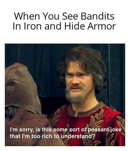 Text - When You See Bandits In Iron and Hide Armor I'm sorry, is this some sort of peasant joke that I'm too rich to understand?