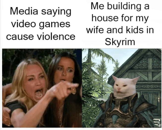 Adaptation - Me building a house for my Media saying video games wife and kids in cause violence Skyrim