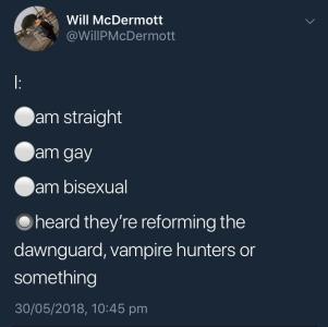 Text - Will McDermott @WillPMcDermott am straight am gay am bisexual heard they're reforming the dawnguard, vampire hunters or something 30/05/2018, 10:45 pm