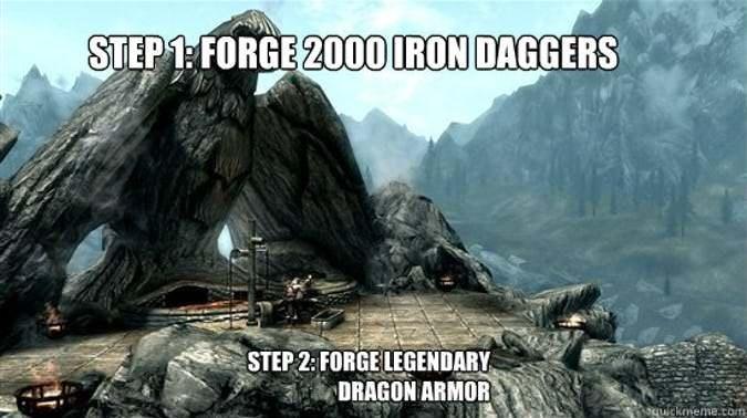 Action-adventure game - STEP 1: FORGE 2000 IRON DAGGERS STEP 2: FORGE LEGENDARY DRAGON ARMOR guickmeme.com