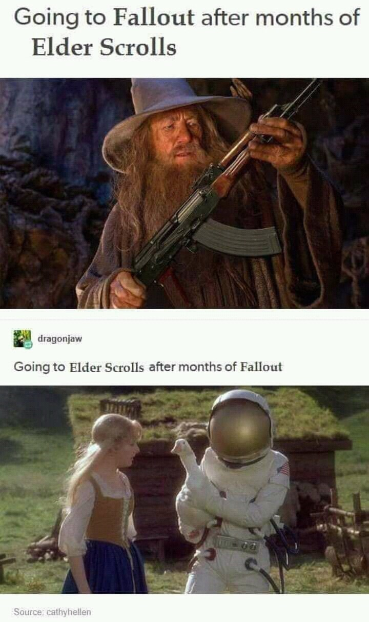 Photography - Going to Fallout after months of Elder Scrolls dragonjaw Going to Elder Scrolls after months of Fallout Source: cathyhellen