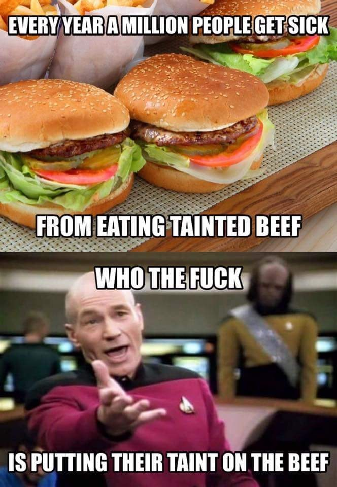 Hamburger - EVERY YEAR A MILLION PEOPLE GET SICK FROM EATING TAINTED BEEF WHO THE FUCK IS PUTTING THEIR TAINT ON THE BEEF