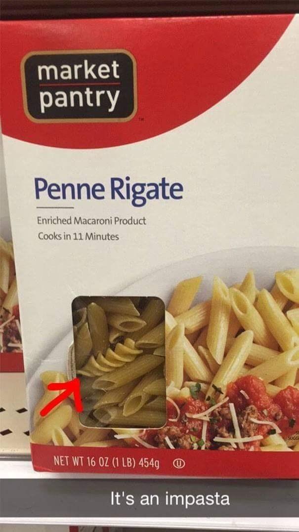 Cuisine - market pantry Penne Rigate Enriched Macaroni Product Cooks in 11 Minutes NET WT 16 OZ (1 LB) 454g It's an impasta