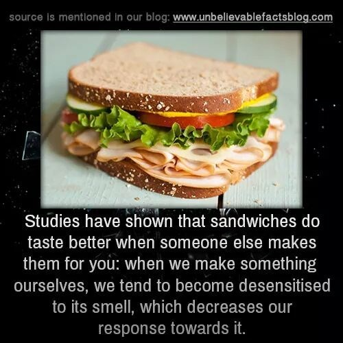 Food - source is mentioned in our blog: www.unbelievablefactsblog.com Studies have shown that sändwiches do taste better when someone else makes them for you: when we make something ourselves, we tend to become desensitised to its smell, which decreases our response towards it.