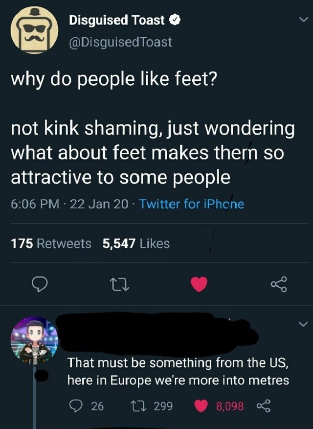 funny tweet about feet and metres | why do people like feet? not kink shaming just wondering what about feet makes them so attractive to some people. that must be something from the us here in europe we're more into metres