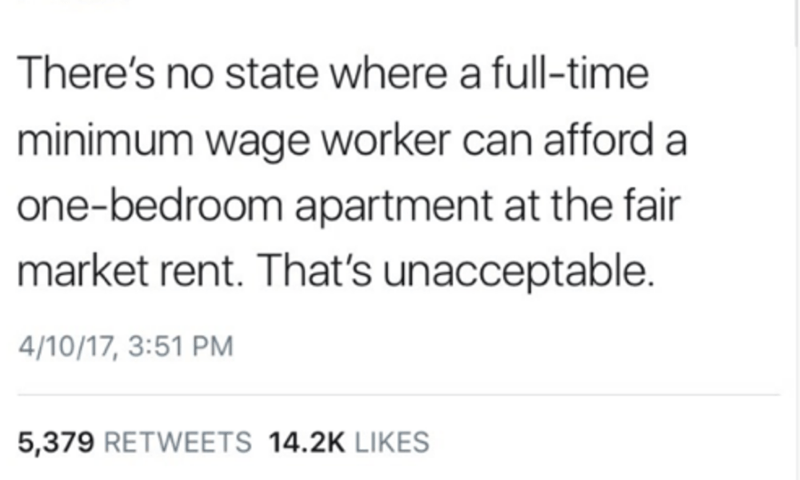 Text - There's no state where a full-time minimum wage worker can afford a one-bedroom apartment at the fair market rent. That's unacceptable. 4/10/17, 3:51 PM 5,379 RETWEETS 14.2K LIKES