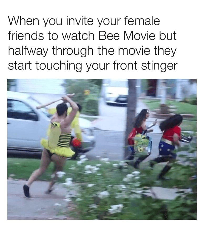 Athlete - When you invite your female friends to watch Bee Movie but halfway through the movie they start touching your front stinger