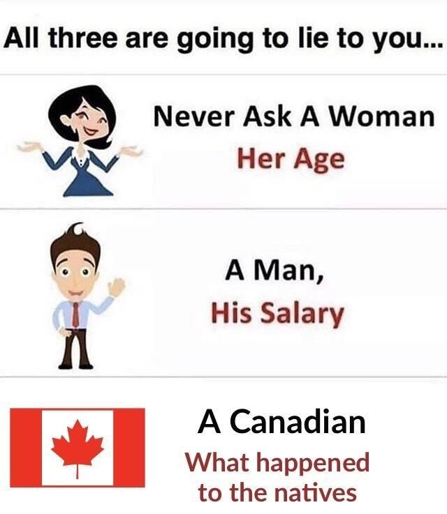 Text - All three are going to lie to you... Never Ask A Woman Her Age A Man, His Salary A Canadian What happened to the natives