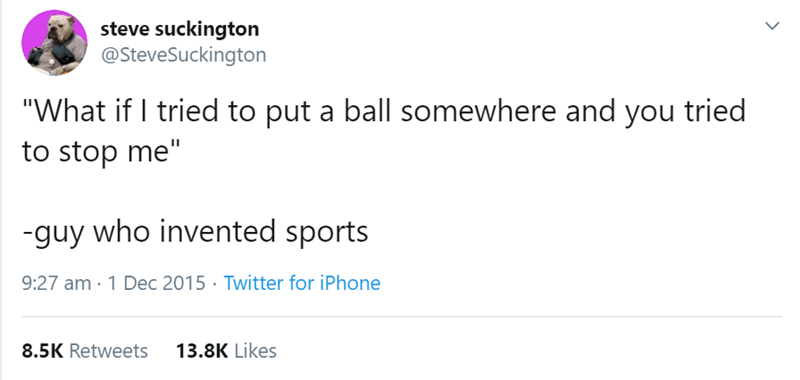 "Text - steve suckington @SteveSuckington ""What if I tried to put a ball somewhere and you tried to stop me"" -guy who invented sports 9:27 am · 1 Dec 2015 · Twitter for iPhone 8.5K Retweets 13.8K Likes"