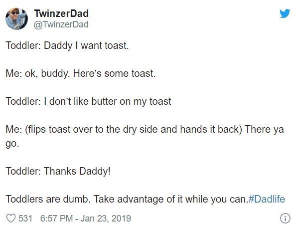 Text - TwinzerDad @TwinzerDad Toddler: Daddy I want toast. Me: ok, buddy. Here's some toast. Toddler: I don't like butter on my toast Me: (flips toast over to the dry side and hands it back) There ya go. Toddler: Thanks Daddy! Toddlers are dumb. Take advantage of it while you can.#Dadlife O 531 6:57 PM - Jan 23, 2019