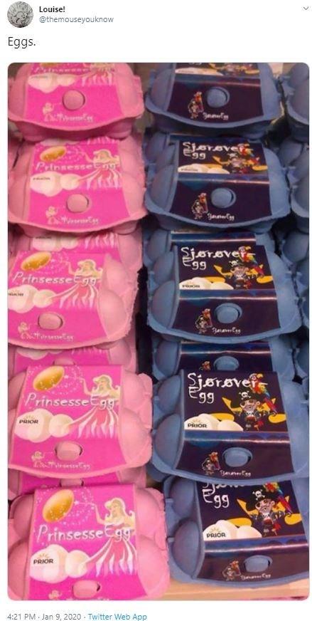 Product - Louise! @themouseyouknow Eggs. Sjorover Pinsesse Sjørovet 99 Prinsessegg Sjørøvefe Egg 99 PrinsesseEgg PRIOR Egg PrinsesseCgy PRIOR PRIOR 4:21 PM Jan 9, 2020 · Twitter Web App
