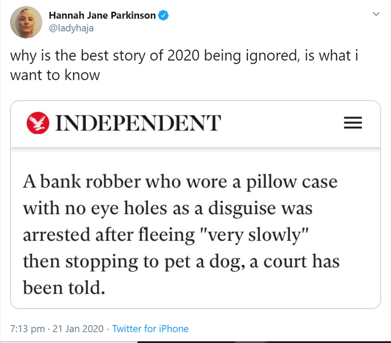 "Text - Hannah Jane Parkinson @ladyhaja why is the best story of 2020 being ignored, is what i want to know Y INDEPENDENT A bank robber who wore a pillow case with no eye holes as a disguise was arrested after fleeing ""very slowly"" then stopping to pet a dog, a court has been told. 7:13 pm · 21 Jan 2020 · Twitter for iPhone II"