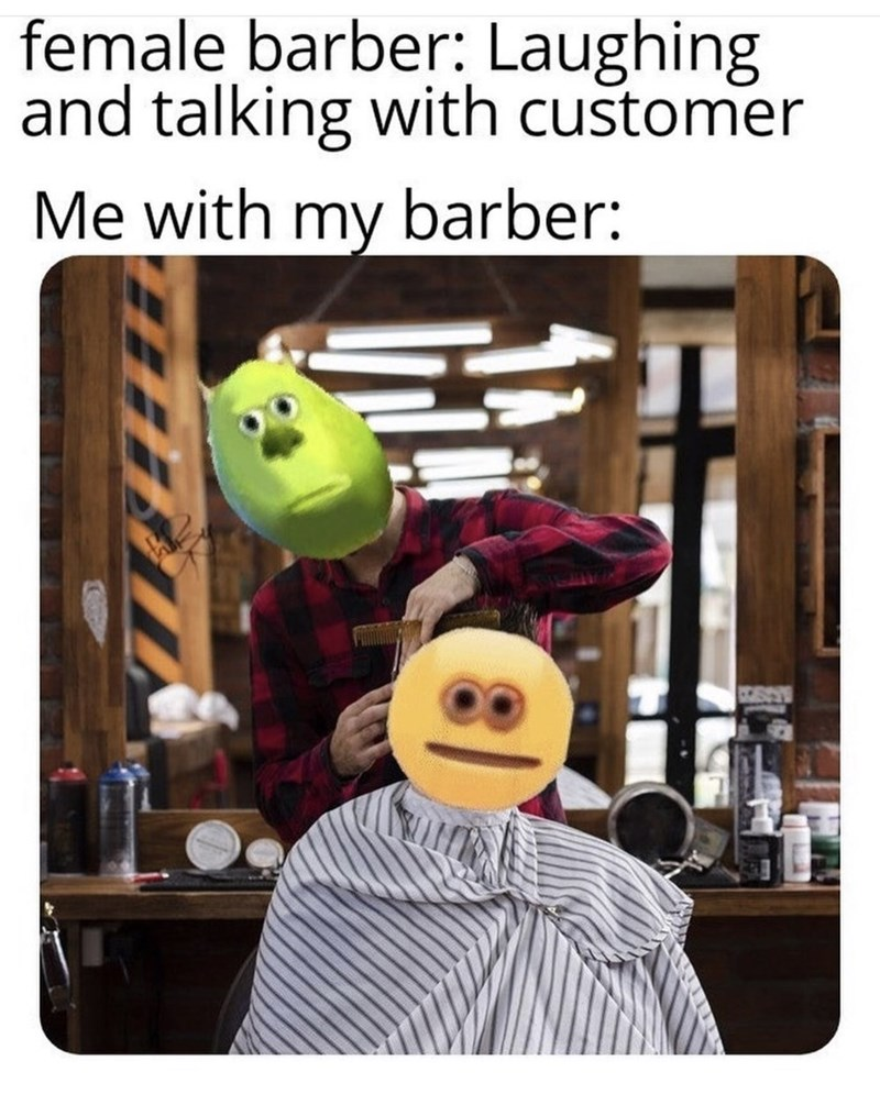 Animation - female barber: Laughing and talking with customer Me with my barber: