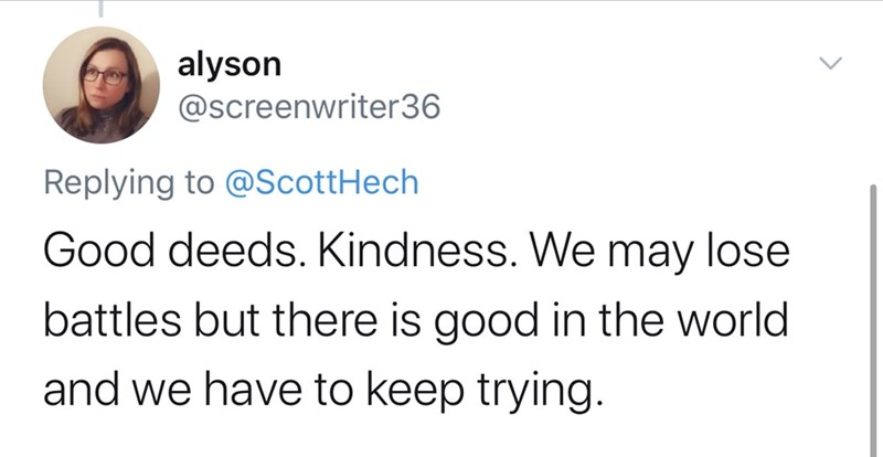 Text - Text - alyson @screenwriter36 Replying to @ScottHech Good deeds. Kindness. We may lose battles but there is good in the world and we have to keep trying.