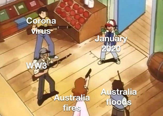 Cartoon - Corona virus January 2020 WAW3 Australia floods Australia fires