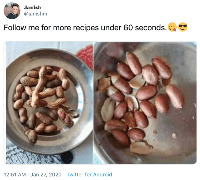 Food - Janish @janishm Follow me for more recipes under 60 seconds. 12:51 AM · Jan 27, 2020 · Twitter for Android