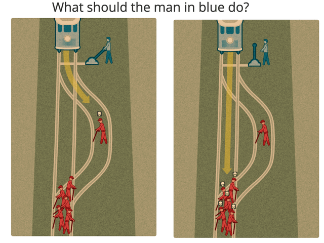 Infrastructure - What should the man in blue do?
