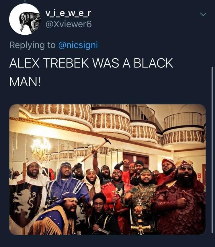 Text - v_i_e_w_e_r @Xviewer6 Replying to @nicsigni ALEX TREBEK WAS A BLACK MAN!