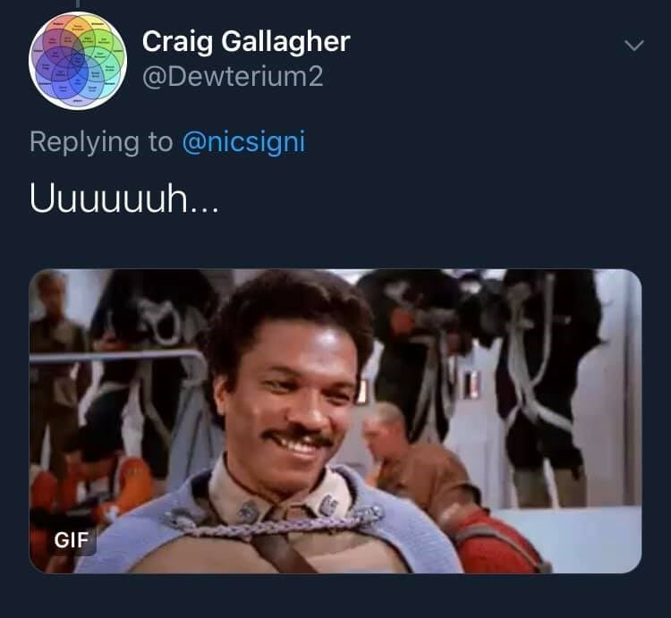 Photography - Craig Gallagher @Dewterium2 Replying to @nicsigni Uuuuuuh... GIF