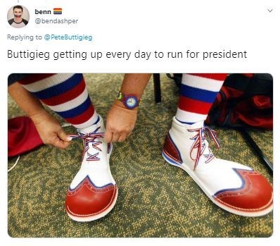 Footwear - benn @bendashper Replying to @PeteButtigieg Buttigieg getting up every day to run for president